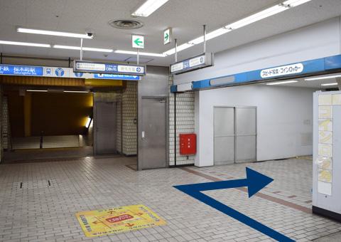 地下飲食街にあるエレベーターホール