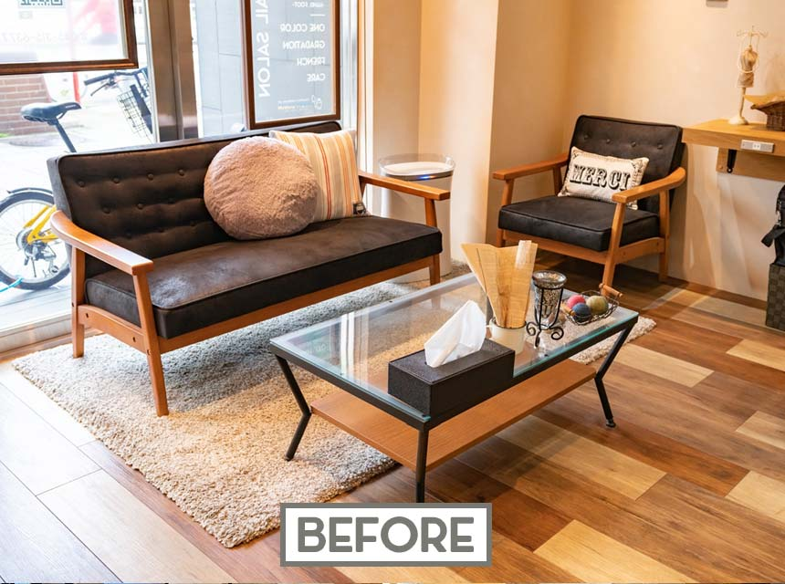 ヘア&ネイル「モンクール」美容室のお客様待合スペース写真